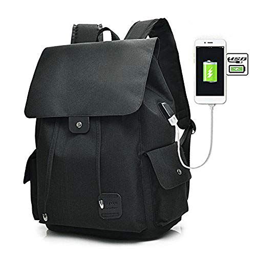 Teimose 15.6inch Laptop Backpack with USB Charging Port, iCasso Lightweight Functional Durable Nylon Travel Notebook Computer Bag Casual Daypack Rucksack for Men & Women (Black) -