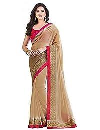 186ad0052d Effigy Onlinehub Women's Chiffon Saree with Blouse Piece, Free Size(Gold  patta)