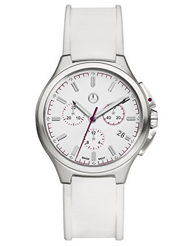 Mercedes-Benz, Women's Wrist Band Watch Chronograph Ladies, Mercedes-Benz, Sport Fashion white / plum / silver colored, Stainless steel / Silicone and Swarovski Stones