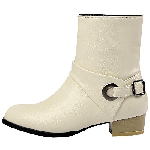 HooH Femmes Bottes Chelsea West Boucle Cowgirl Bottines Beige