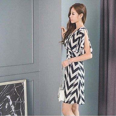 PU&PU Robe Aux femmes Gaine simple,Rayé Col en V Au dessus du genou Coton / Polyester BLACK-XL