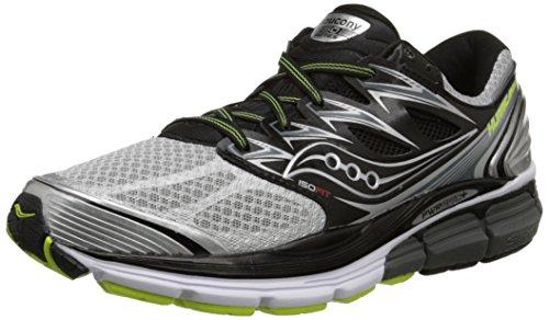 Saucony Men's Hurricane ISO Running Shoe, Silver/Black/Citron,10.5 M US Silver/Black/Citron