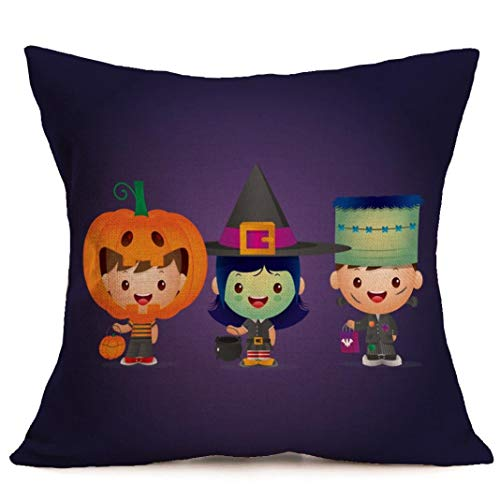 Happy Halloween Pillow Cases Printed Knitted Cotton Washable Sofa Cushion Cover Home Decor Kissenbezüge (65cmx65cm) (Halloween Happy Stitch)