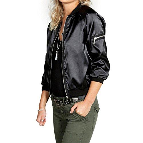 G WELL Klassische Jacke Blousonjacket Kurzjacke mit Reißverschluss Retro Piloten Biker Jacke schwarz M