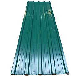 12x Deuba Corrugated Roof Sheets – Roofing, Sheeting, Cladding, Profiled, Trapezodial (129x45cm) – Galvanized Steel Metal, 7m² Green