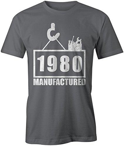 Manufactured 1980 - Rundhals-T-Shirt Männer-Herren - hochwertig bedruckt  mit lustigem