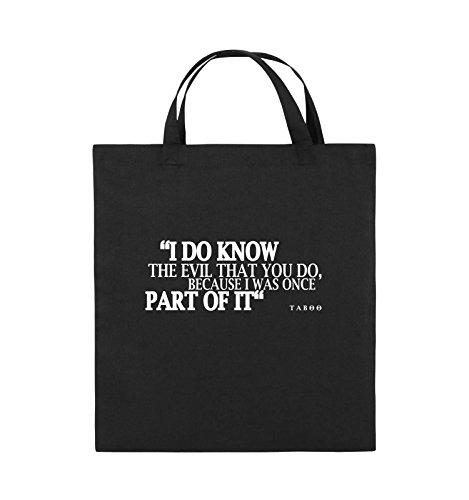 Comedy Bags - I DO KNOW THE EVIL - TABOO - Jutebeutel - kurze Henkel - 38x42cm - Farbe: Schwarz / Pink Schwarz / Weiss