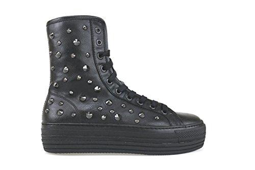 scarpe donna CULT sneakers alti stivaletti nero pelle borchie AK800 (36 EU)