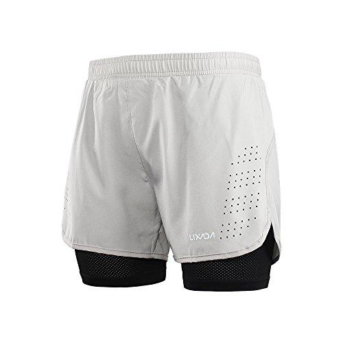 Lixada Hombres Pantalónes Cortos Running 2-en-1