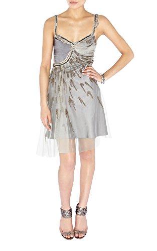 Karen Millen verziert Perlen Pailletten Kleid neutral Gr. 42, Beige - Beige and grey neutral