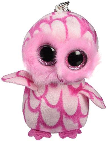 Ty - Ty36594 - Felpa - Clip de Beanie Boo - Pinky Búho - Peluche Llavero Beanie Lechuza Rosa 10 cm, Juguete Peluche A partir de 10 años