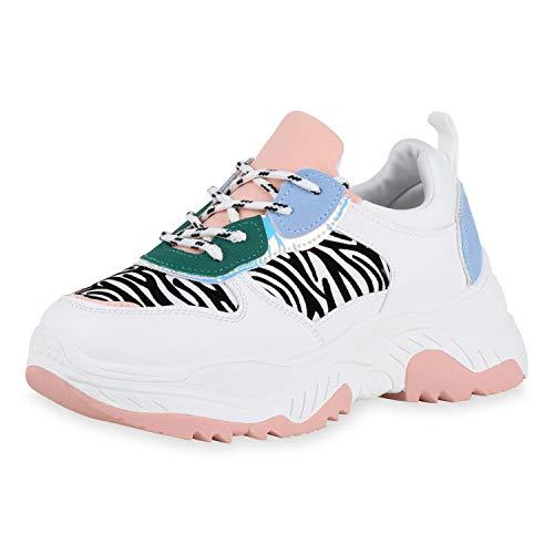 SCARPE VITA Damen Plateau Sneaker Zebra Print Freizeit Schuhe Schnürer Metallic Holo Streifen Turnschuhe 180565 Weiss Rosa Zebra 38 -