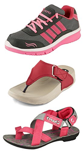 Jabra Women's & Girls Sport Shoes, Slippers & Sandals Combo Pack of 3(LS-01 +PL-01 RED+CHERRY-3 PINK)