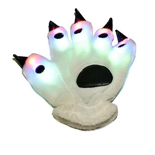 N Bär Paw Claw Handschuhe mit bunten Blinklichtern und 6 Glowing Mode für Rave Led, Geburtstag, Fantastische Kostüm Party, Freizeitaktivität Performance (Panda Bear-halloween-kostüm)