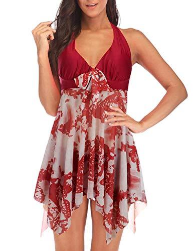 FeelinGirl Mujer Tankini de Dos Piezas Halterneck Dobladillo Asimétrico Estampado Floral Bañador Sexy Elegante Deportivo Talla Grande 5XL Rojo