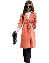 MissFox Mujer Ocio Chaquetas Trench Abrigo Largo Con Cinturón Tamaño ... b42c560cccae