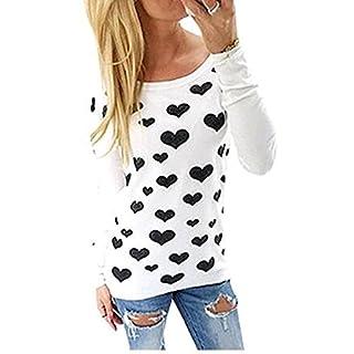Amison Damen Frau Herz Printing Reißverschluss Rundhals Hemd Bluse Tops T-Shirt (Asian M, Weiß)