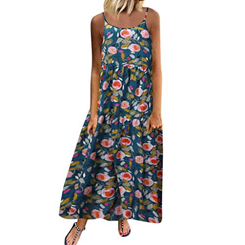 kleid damen Liusdh Sommermode Rundhals locker lässig Blumendruck langes Kleid Strandkleid(Blue2,L) Fashion Dress Forms