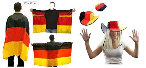 Unbekannt Deutschland Umhang Flagge Fahne + Faltbare Mütze Hut Fußball Fasching Karneval Fastnacht für Kostüm Fußball-hut