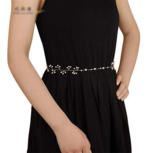 Matilda530 Gürtel Brauen Perle Handgemachte Hochzeit Kleid Zubehör Vorhang Strap Braut Hochzeit Schmuck Bauchkette (Farbe : Champagner)