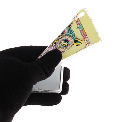Sony Xperia Z2 (SONY XPERIA Z2) hülle MCHSHOP Ultra Slim Skin Gel TPU hülle weiche Silicone Silikon Schutzhülle Case für Sony Xperia Z2 (SONY XPERIA Z2) - 1 Kostenlose Stylus (Löwenzahn sich verlieben bunte ständigen eule mit grünen blättern (Colorful sta