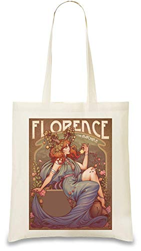 Florence And The Machine Florenz und die Maschinenillustration Illustration Custom Printed Tote Bag  100% Soft Cotton  Natural Color & Eco-Friendly  Unique, Re-Usable & Stylish Handbag For Every Florenz-tee