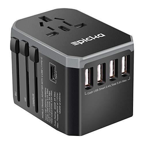 VELAZZIO EPICKA Reiseadapter Universal Weltweiter Stromadapter für 150 Ländern Reisestecker mit 5.6A AC Steckdose 4 USB Type-C für Reise USA UK AUS EU usw (Grey)