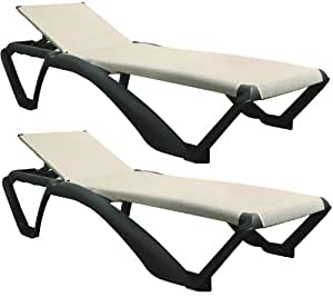Resol Marina Sun Lounger / Bed - Dark Grey Frame with Natural / Cream Canvas Material - Pack of 2 Loungers