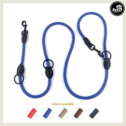 Pets&Partner® Hundeleine aus Nylon/Doppelleine/geflochten mittelgroße bis große Hunde farblich passend zu Halsband und Geschirr, Marine Blau