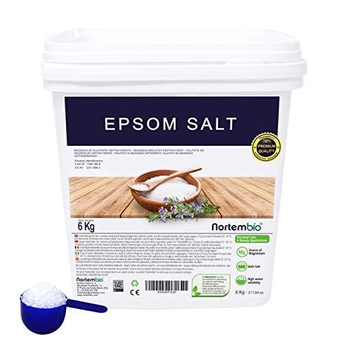Epsom Salz NortemBio 6 Kg. Konzentrierte Magnesiumquelle, 100% Natürliches Salz. Bad und Körperpflege. E-Book Inklusiv.