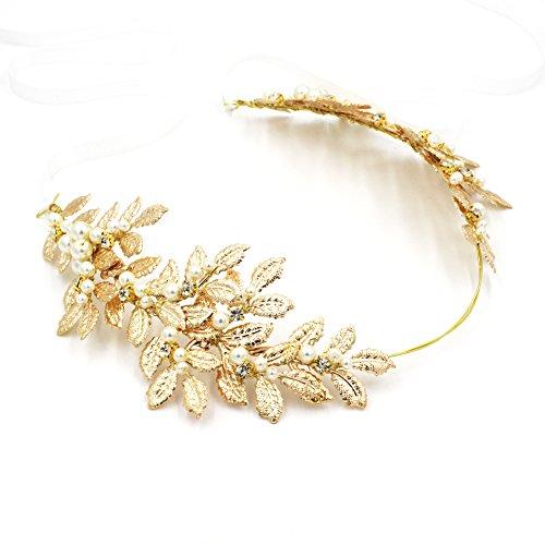 n Göttin gold leaf Krone, Perle und Kristall Brautschmuck Diadem Hochzeit Headbands mit Schleife (Herbst-festival-halloween-spiele)