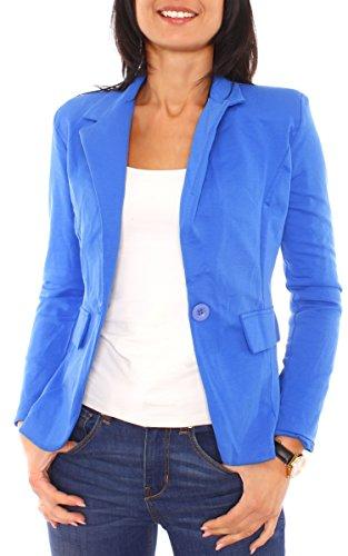 Damen Sommer Sweat Jersey Blazer Jacke Sweatblazer Jerseyblazer Sakko Kurz Gefüttert Langarm Uni Einfarbig Royal S - 36 (M) (Royal Blauer Blazer)