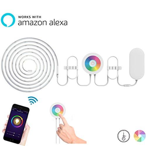 Lombex-SmarterWIFI-LED-Lichtstreifen-Flexibles-Tape-Beleuchtungsset-Arbeitet-Mit-Alexa-RemoteVoice-Control-2M-RGBW-Die-Farbe-Wechselndes-Streifen-Stimmungslicht-LEDSchleife-DIY-Weihnachten-Urlaub-Deko