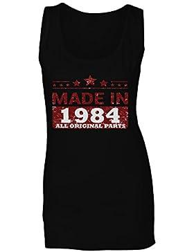 Hecho en 1984 Todas las piezas originales Funny Novedad camiseta sin mangas mujer jj80ft