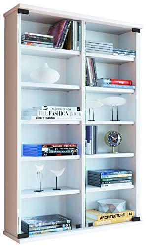 Vcm 912014zuntisa-scaffale da parete per 300cd, in legno/vetro di sicurezza esg, legno, bianco, 91,5 x 60 x 18 cm