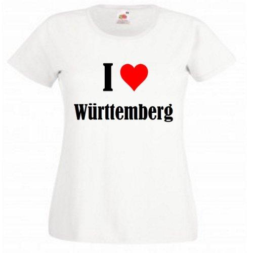 """T-Shirt """"I Love Württemberg"""" für Damen Herren und Kinder ... in der Farben Schwarz Weiss und Pink Rosa Weiß"""