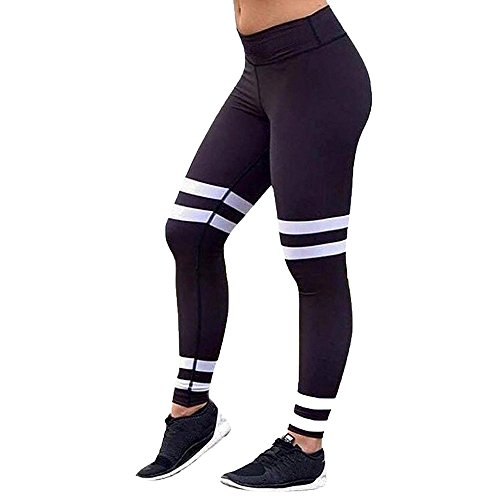 Striped Print Frauen Sport Gym Yoga Übung Mid-Rise Laufhose Fitness Elastische Leggings (Jeans Bootleg Mid-rise)