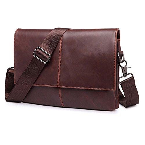 E Support™ Vintage Leder kleine Herren Schultertasche Umhängetasche Aktentasche Messenger Bag für Damen