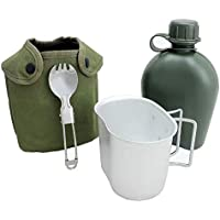 BeGrit 1 Quart Outdoor Kettle Canteen Kit with Aluminum Cup and Cover for Hiking Camping