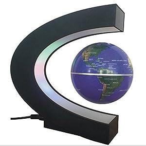 Tenlacum Forma C de la levitación magnética flotante globo giratorio Mapa Mundial de la lámpara LED de colores regalo de la decoración, globo flotante con luces LED