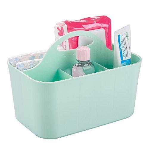 mDesign panier idéal pour ranger des flacons, lotions, savons ou jouets – rangement salle de bain en plastique – bac de rangement couleur menthe qui convient également à la chambre de votre enfant
