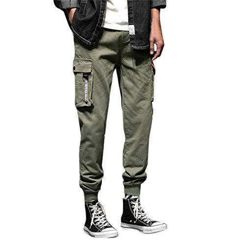 3b00f9519433 ADESHOP Herren Freizeithose aus Baumwolle, elastische Taille, mehrere  Taschen, lose Jeans Gr.