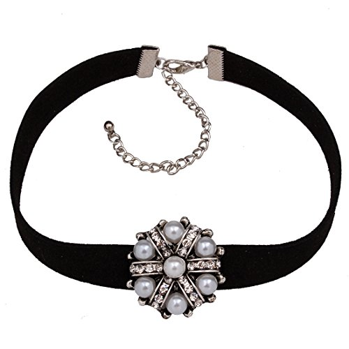 Jinberry Vintage Gargantilla con Perla y Diamante de Imitación Colgante / Choker Collar de Terciopelo Negro para Mujeres y Chicas