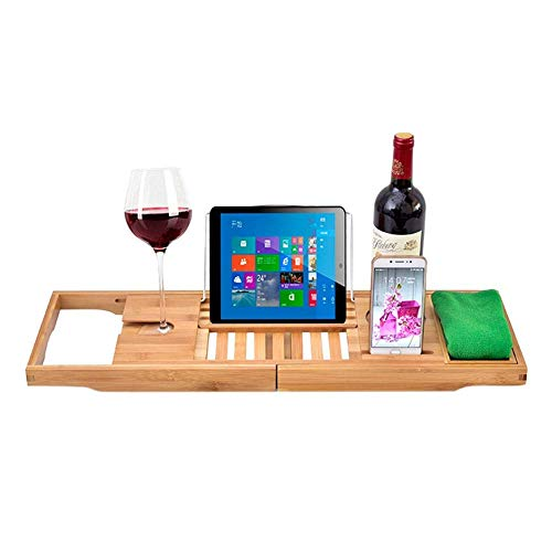 HSRG Badewannenablage, Wannenregal zum Lesen mit erweiterbaren Seiten, Tablet-Halter, Handy-Fach, Weinglas-Slot - tolle Geschenkidee