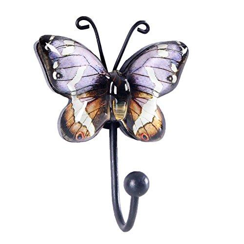 NIKKY HOME Wandkleiderhaken Bad Handtuchhaken Kabine Veranda Haken Retro Vintage Haken Hutablage Schmetterlings-Aufhänger Metall und Glas Lila
