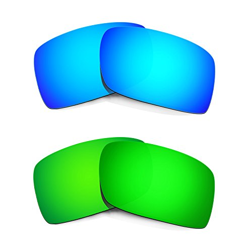 HKUCO Mens Replacement Lenses For Oakley Gascan Blue/Green Sunglasses
