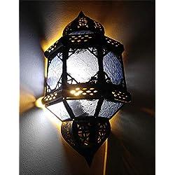 Casablanca Orient Marrakesch lámpara de Pared Hierro Cristal, lámpara marroquí de Pared leuchte| heimtexland = 44x 22,5cm, 100% Hecho a Mano, Color Azul