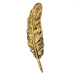 Imported Vintage Bronze Tone Big Feather Leaf Shape Brooch Pin Costume Jewelry