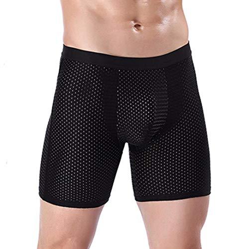 UJUNAOR Herren Underpants Boxershorts Trunks Sport Unterhose Weich dünn Briefs(Schwarz 2,EU L/CN ()