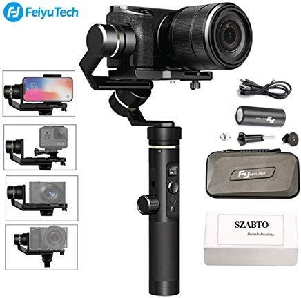 Feiyu G6 Plus 3-Achsen Brushless Handheld Gimbal Stabilisator Spritzwassergeschützte 800g Payload 12 Stunden Laufzeit für Smartphone,Action Camera GoPro,Digital Cameras, Pocket Kamera